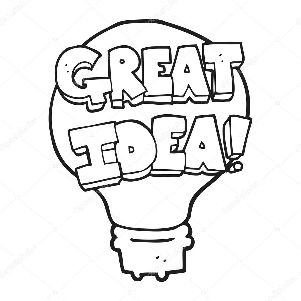 Black And White Cartoon Great Idea Light Bulb Symbol Stock Vector
