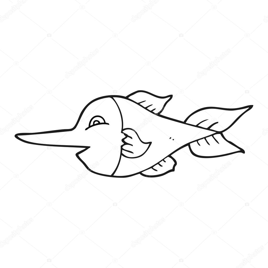 Black And White Cartoon Swordfish Stock Vector C Lineartestpilot
