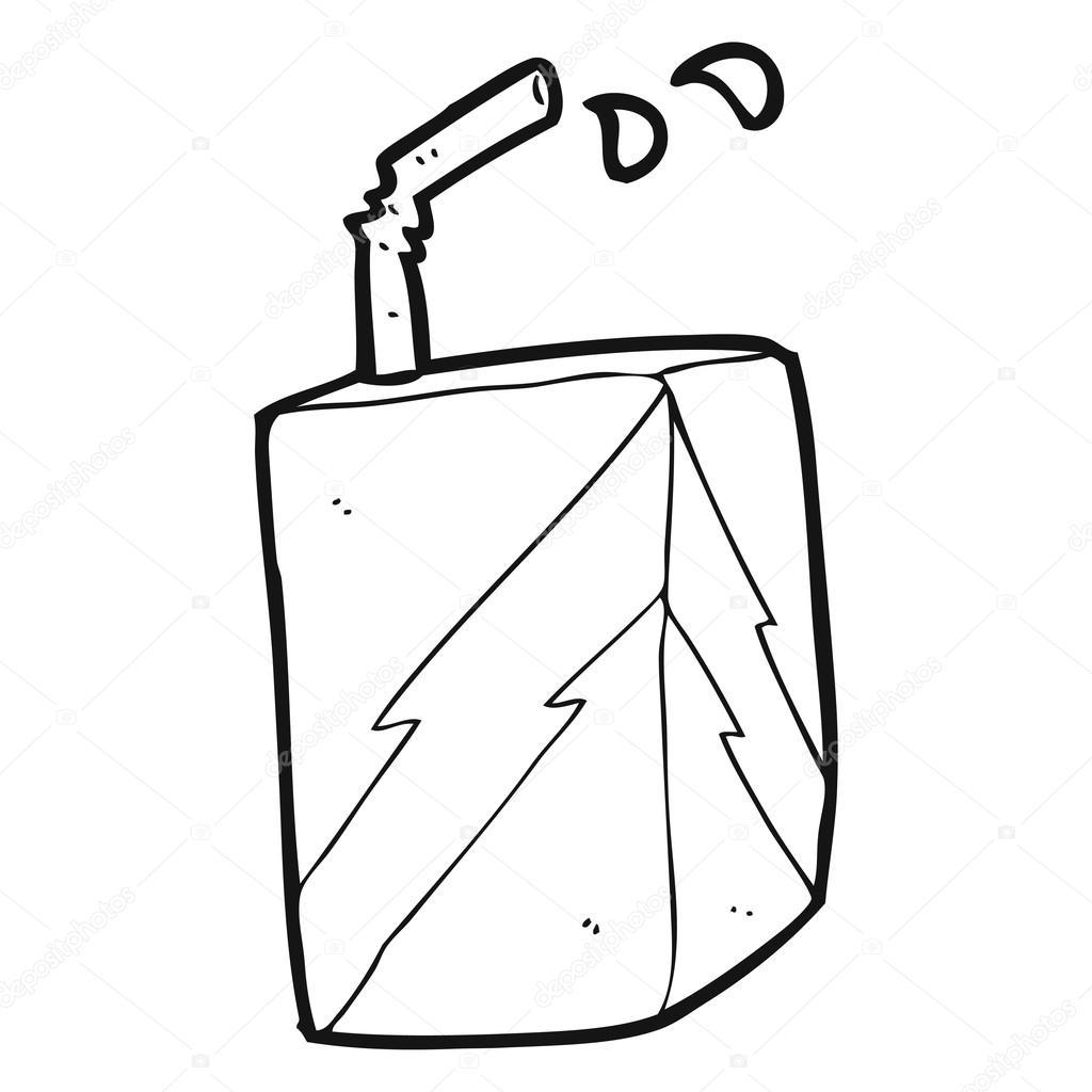 caja de jugo blanco y negro de la historieta — Vector de stock ...