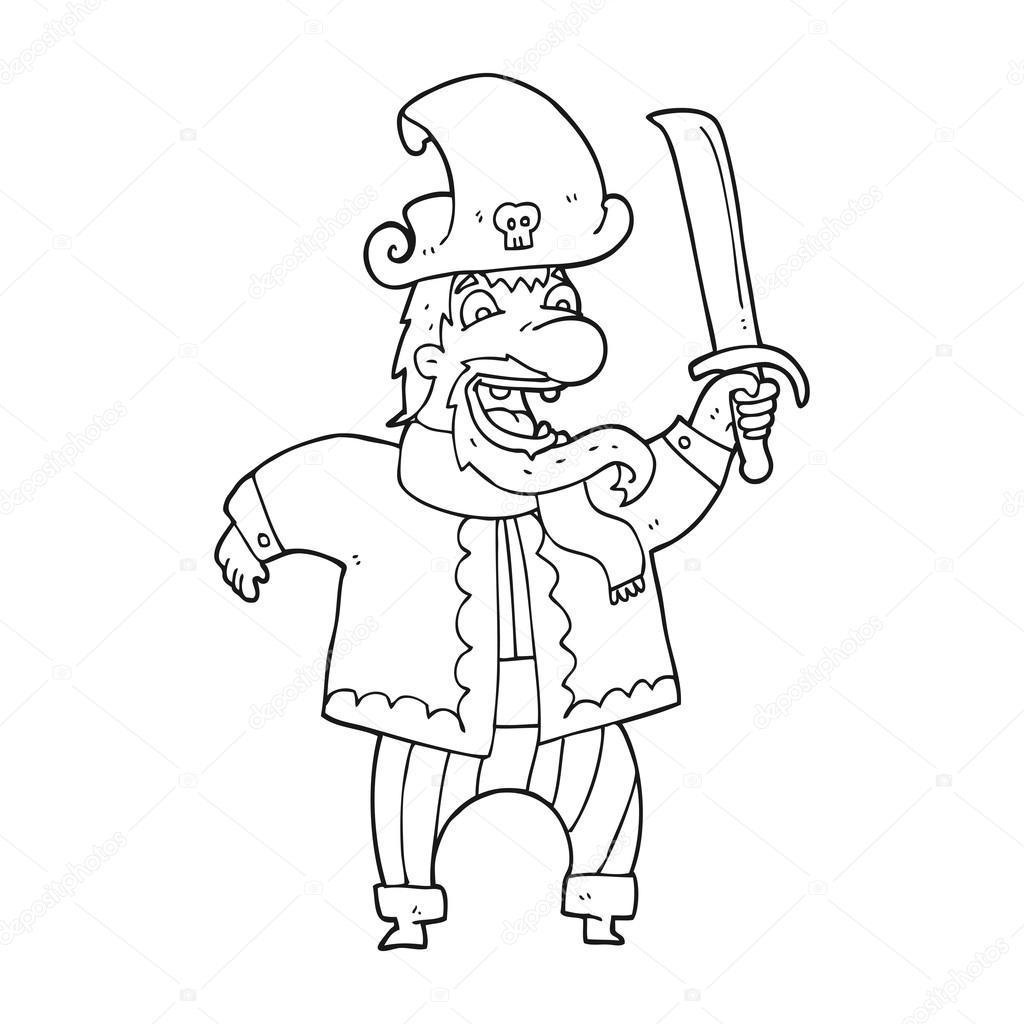 riendo de capitán pirata de dibujos animados de blanco y negro ...