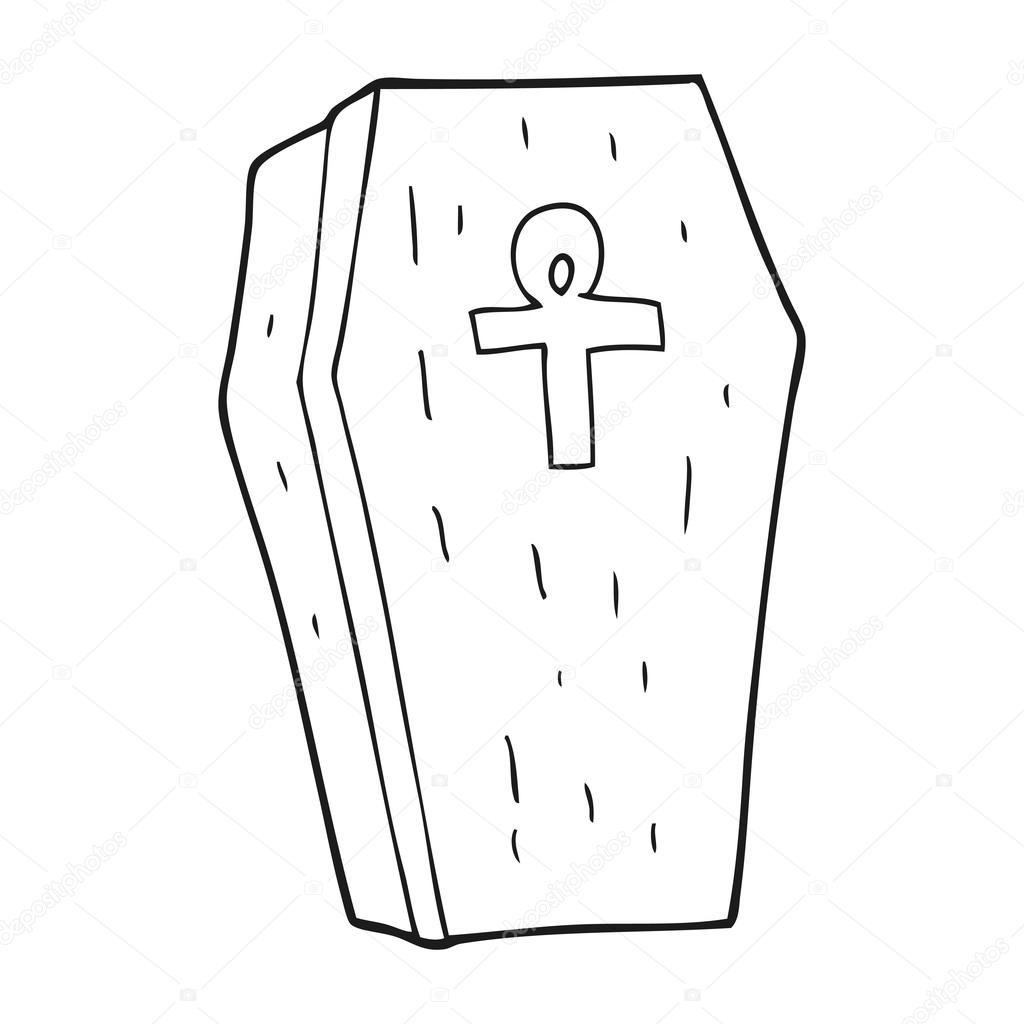 blanco y negro de dibujos animados ataúd spooky — Vector de stock ...