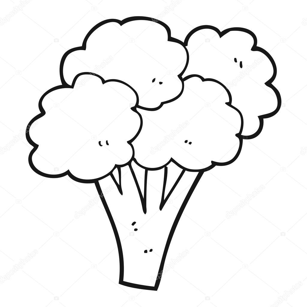brócolis de preto e branco dos desenhos animados vetor de stock