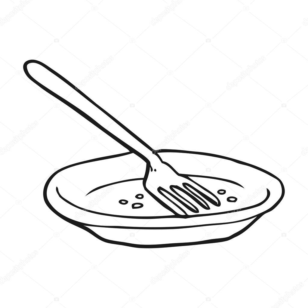 Dibujos Platos Vacios Plato Vacío De Dibujos Animados Blanco Y