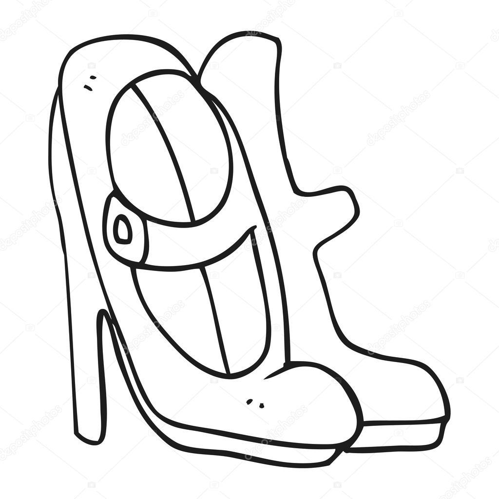 Siyah Beyaz çizgi Film Yüksek Topuklu Ayakkabı Stok Vektör