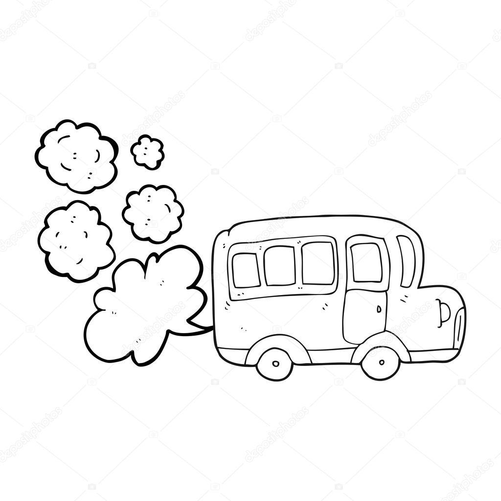 autobús escolar de dibujos animados blanco y negro amarillo ...