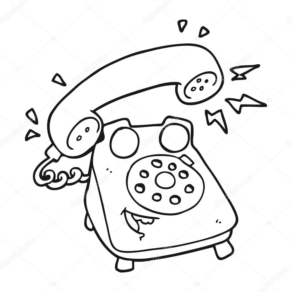 black and white cartoon ringing telephone � stock vector