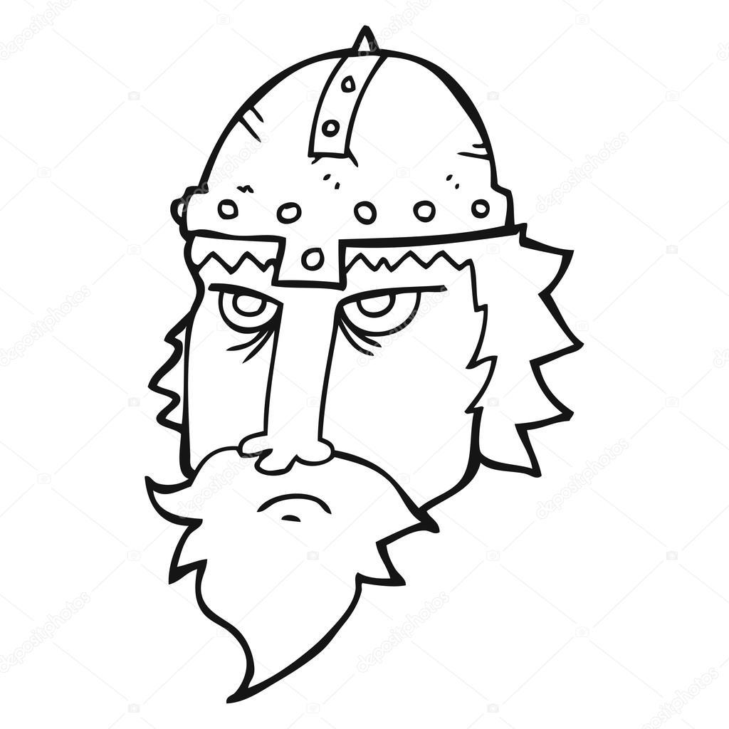Siyah Beyaz çizgi Film Viking Savaşçısı Stok Vektör