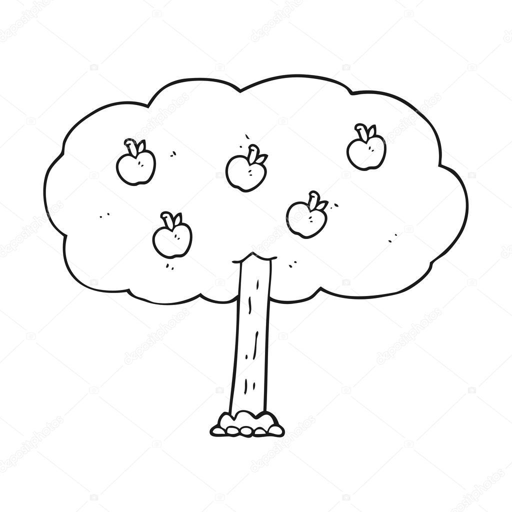 árbol de manzana blanco y negro de dibujos animados — Archivo ...