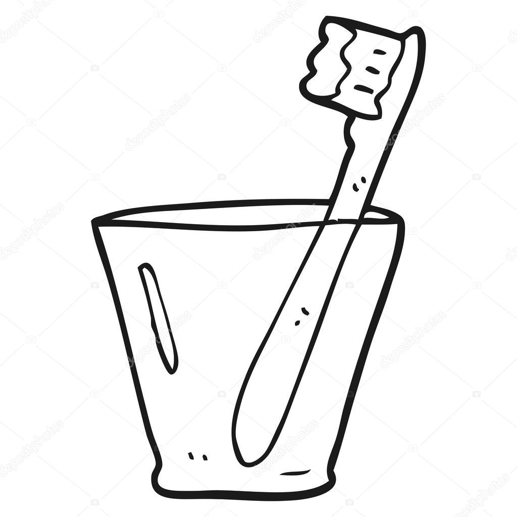 Cam Siyah Beyaz çizgi Film Diş Fırçası Stok Vektör