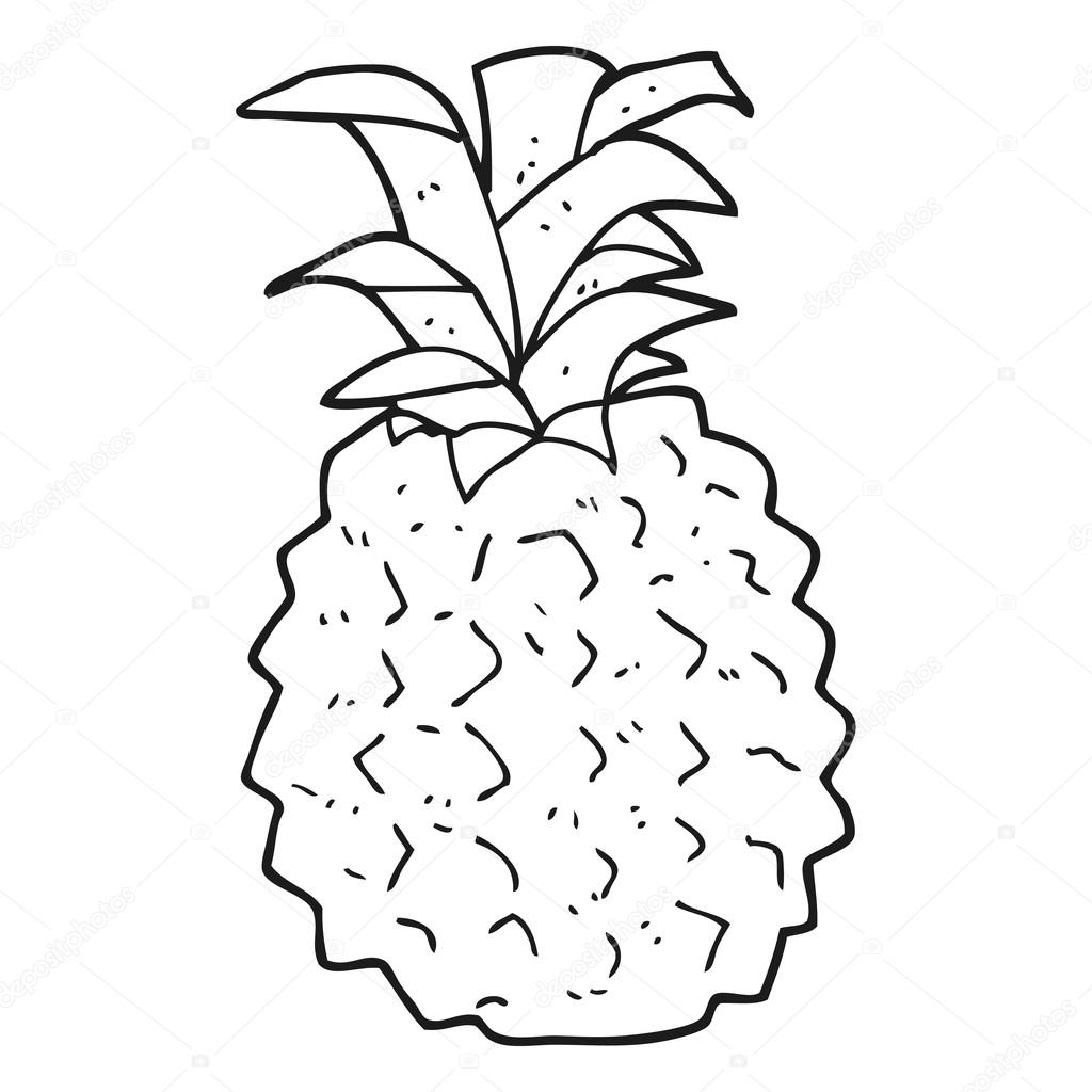 Black and white cartoon pineapple stock vector - Ananas dessin ...
