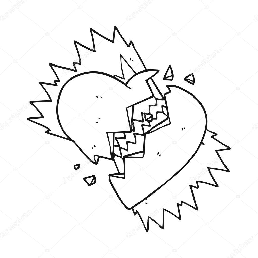 Noir Et Blanc Dessin Anime Coeur Brise Image Vectorielle
