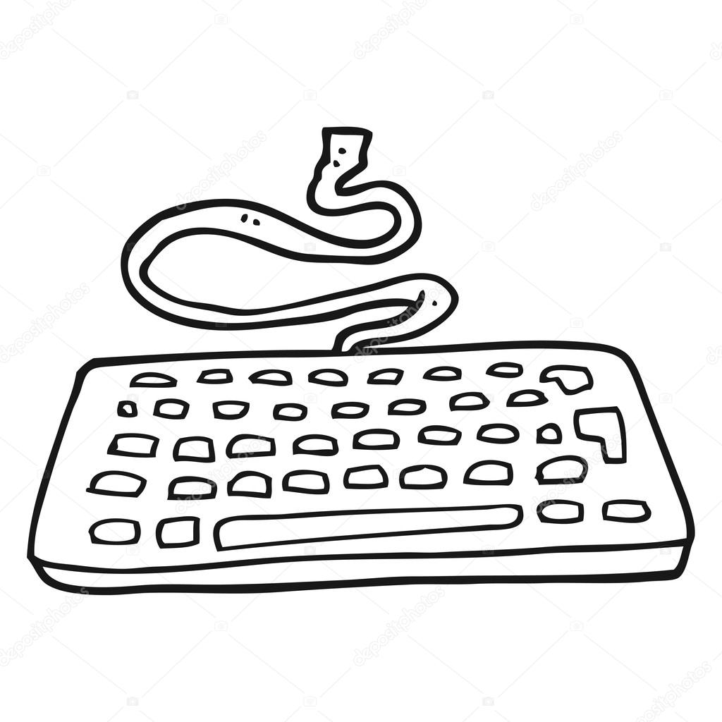 teclado blanco y negro de dibujos animados — Vector de stock ...