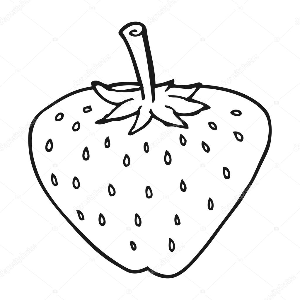 black and white cartoon strawberry — Stock Vector ... for Clipart Strawberry Black And White  103wja