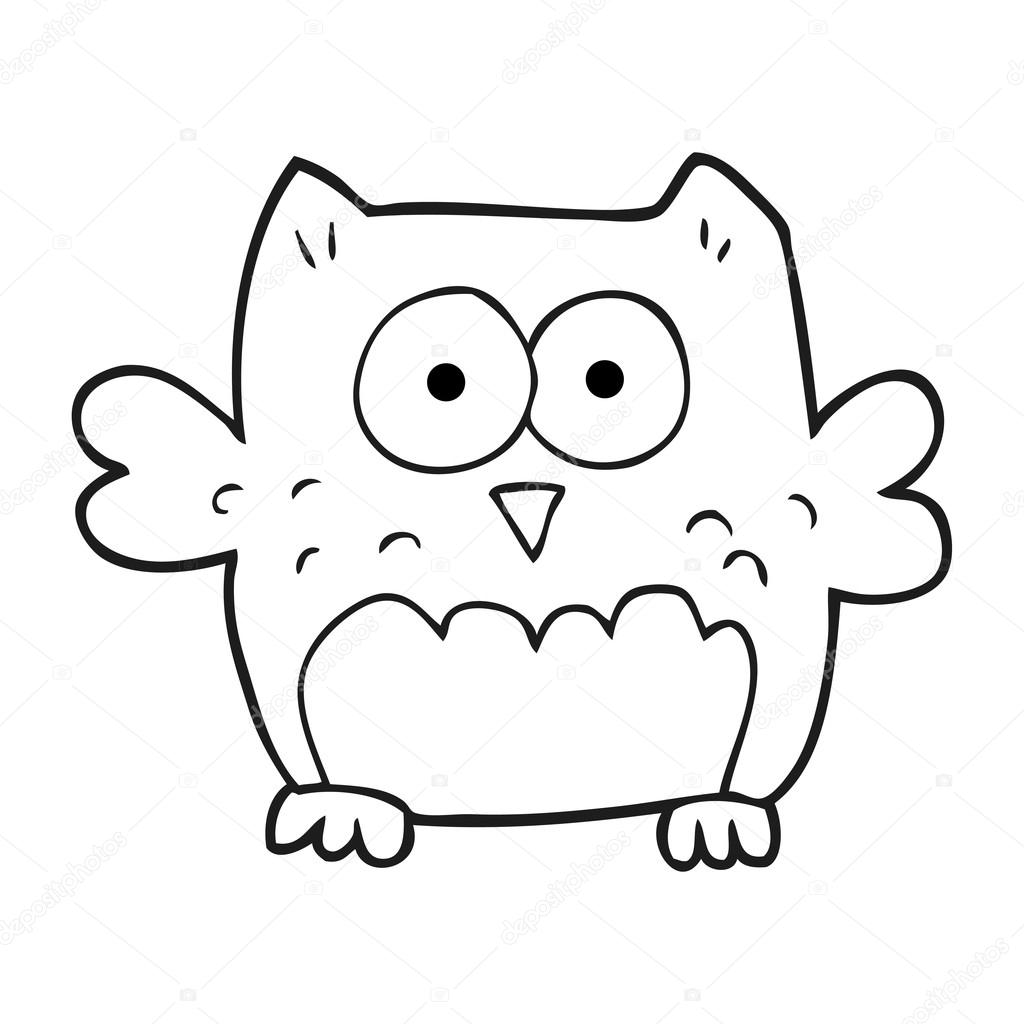 Black And White Cartoon Owl Stock Vector Lineartestpilot 101507954