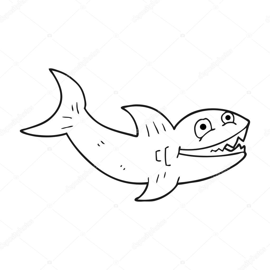 tiburón blanco y negro de dibujos animados — Archivo Imágenes ...