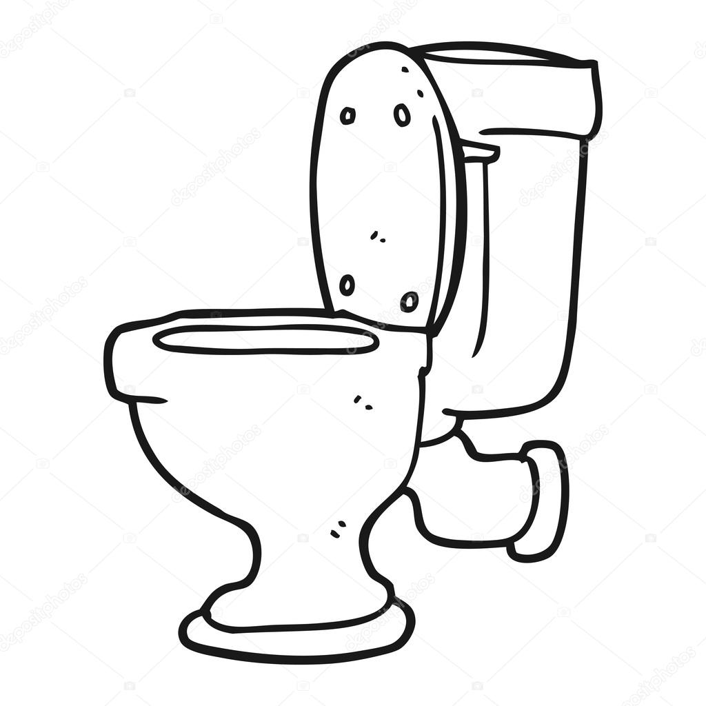 schwarze und weiße Cartoon Toilette — Stockvektor © lineartestpilot ...