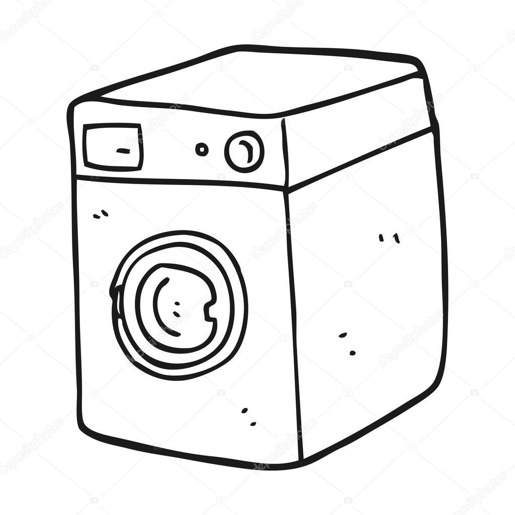 zwart wit wasmachine stockvector