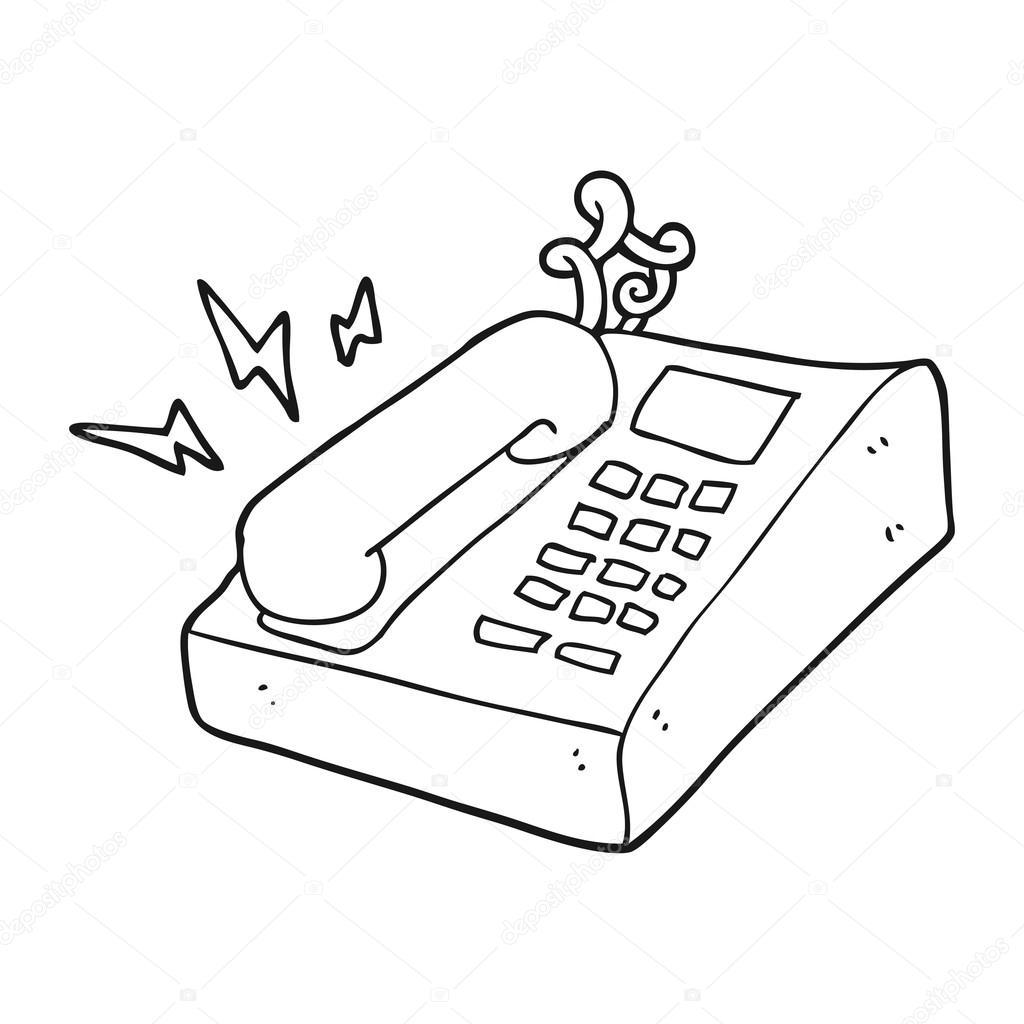 t233l233phone de bureau de dessin anim233 noir et blanc � image