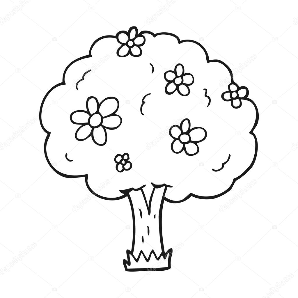 Clipart Tree Black And White Black And White Cartoon Tree With Flowers Stock Vector C Lineartestpilot 101508782 Free for commercial use no attribution required high quality images. https depositphotos com 101508782 stock illustration black and white cartoon tree html