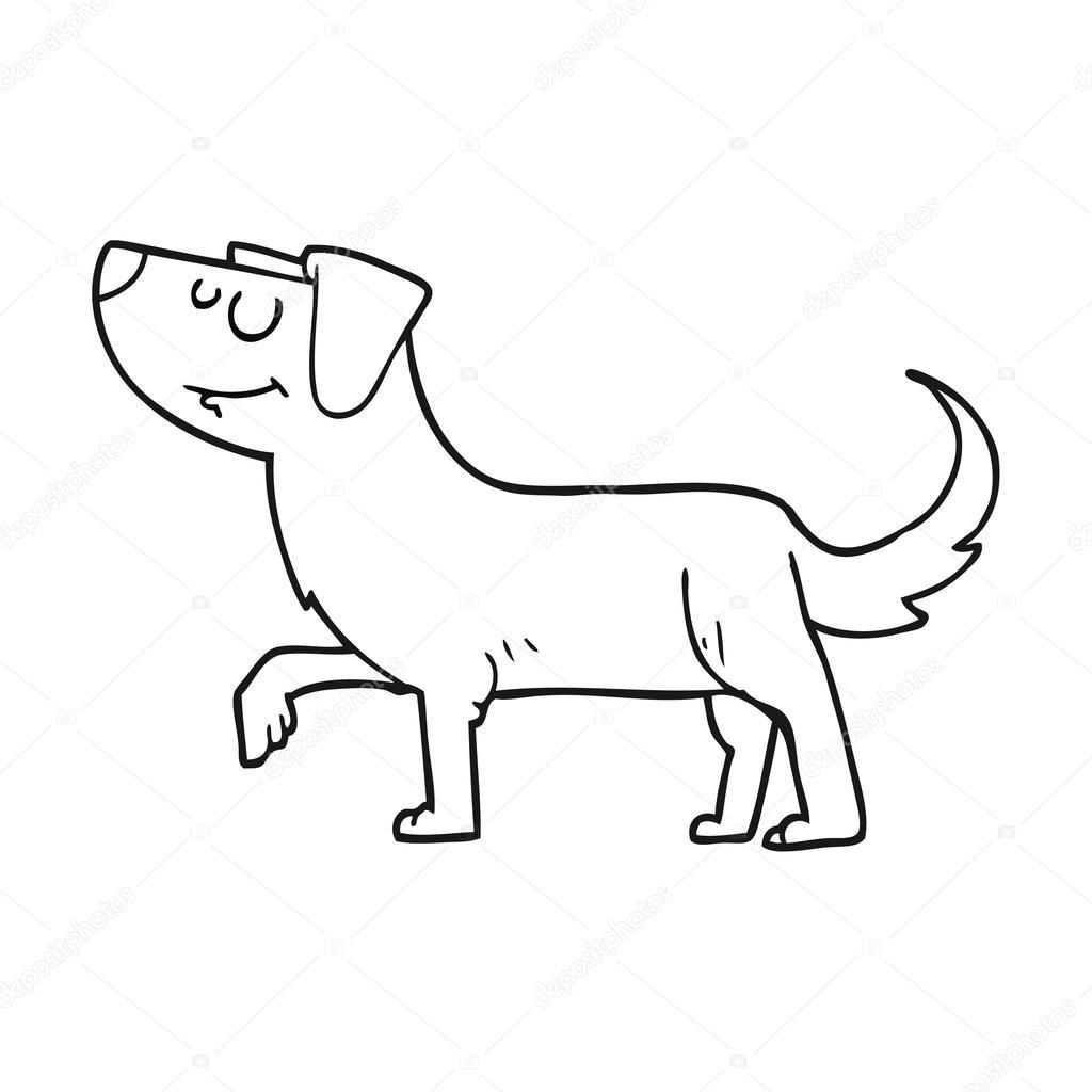 Perro De Dibujos Animados Blanco Y Negro Archivo Imágenes