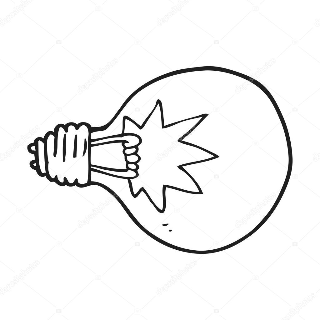 Black And White Cartoon Light Bulb Stock Vector Lineartestpilot