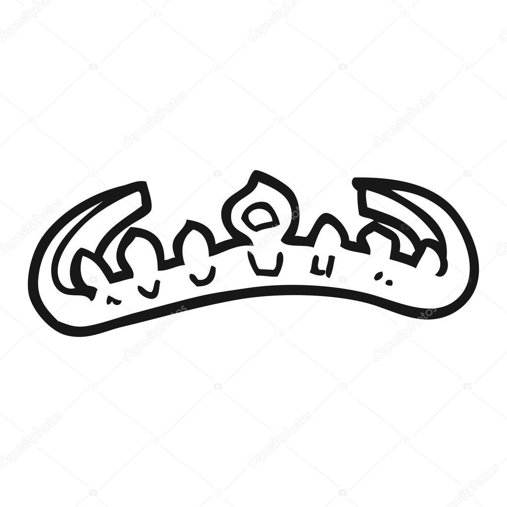 tiara de dibujos animados blanco y negro — Vector de stock ...