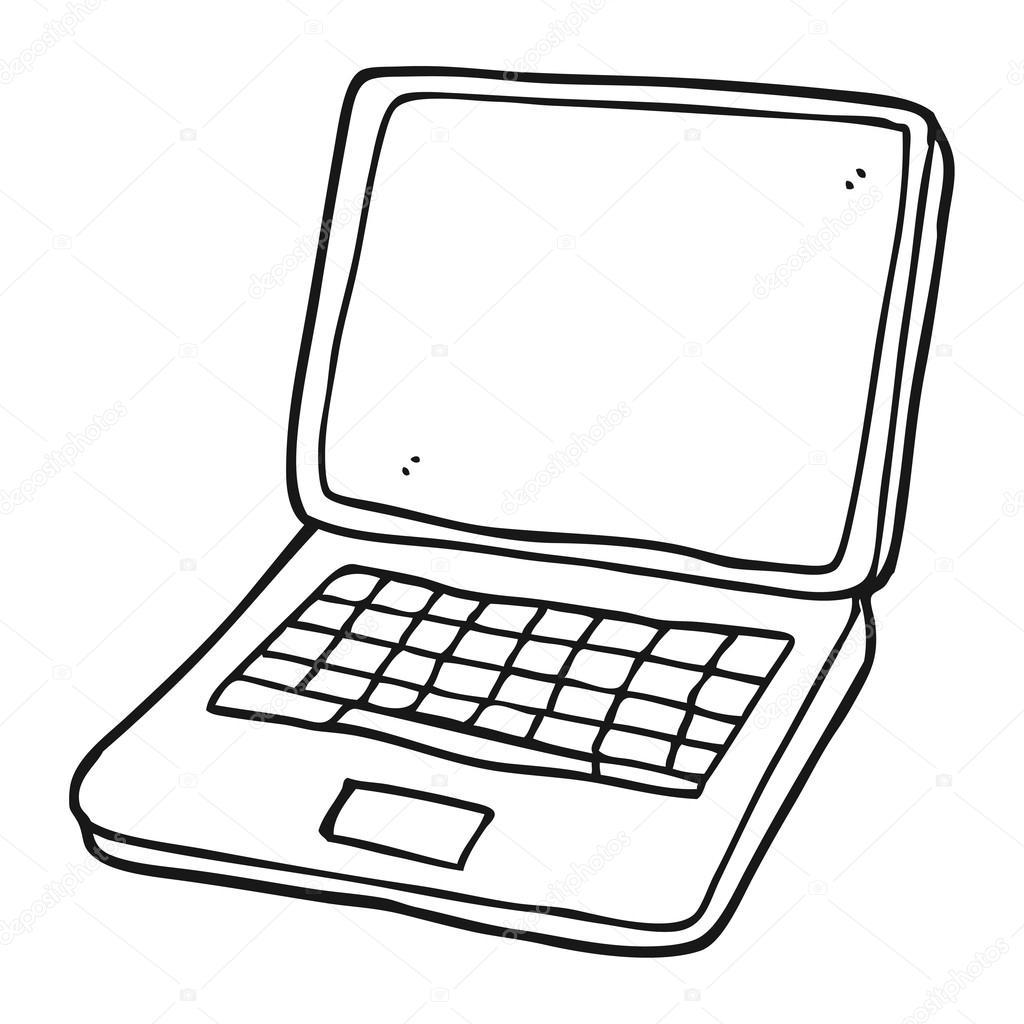 Ordenador port til de dibujos animados blanco y negro con - Programas para pintar en el ordenador ...