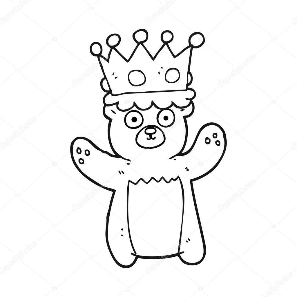 oso de peluche de dibujos animados blanco y negro con corona ...