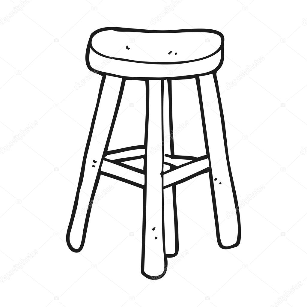 Black and white cartoon stool stock vector for Taburete dwg