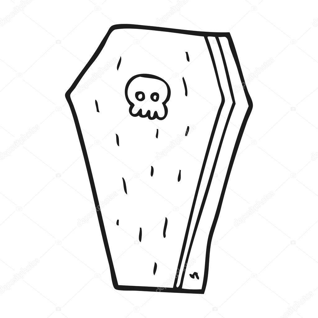 Black And White Cartoon Halloween Coffin Stock Vector