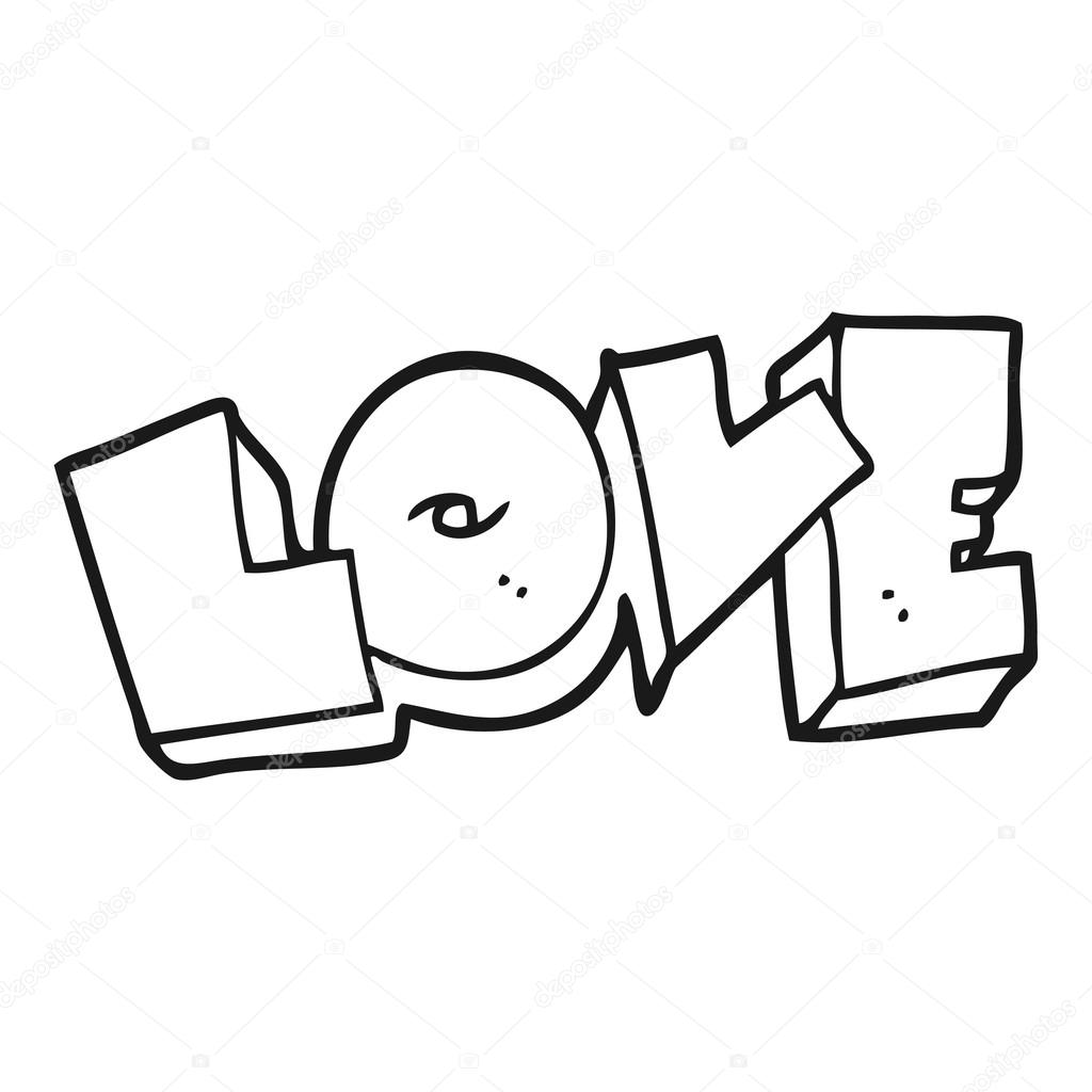 Black And White Cartoon Love Sign Stock Vector C Lineartestpilot