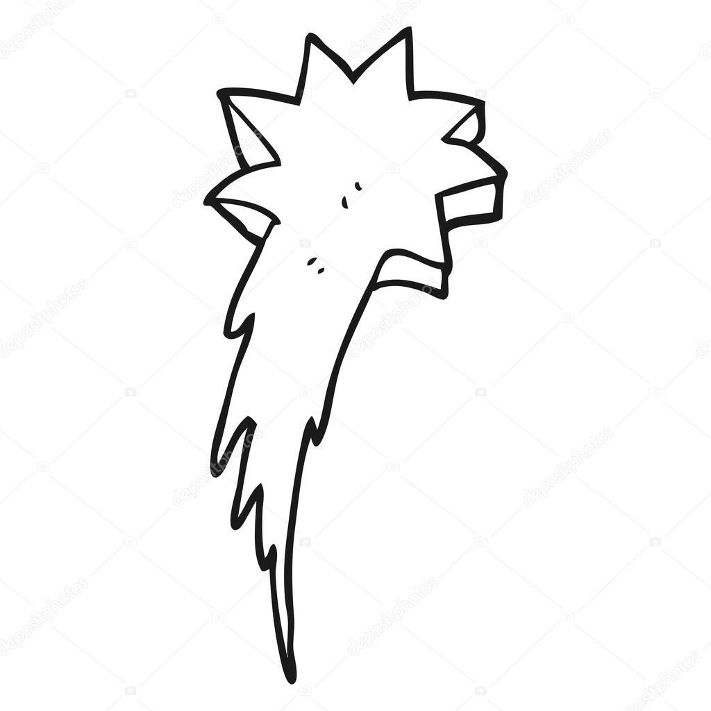 símbolo de estrella fugaz blanco y negro de dibujos animados ...