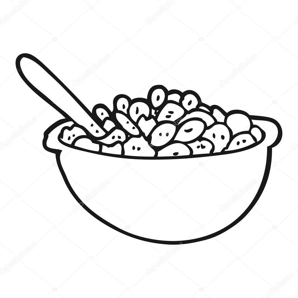 Cartoon Bowl Of Cereal Black And White Cartoon Bowl Of Cereal