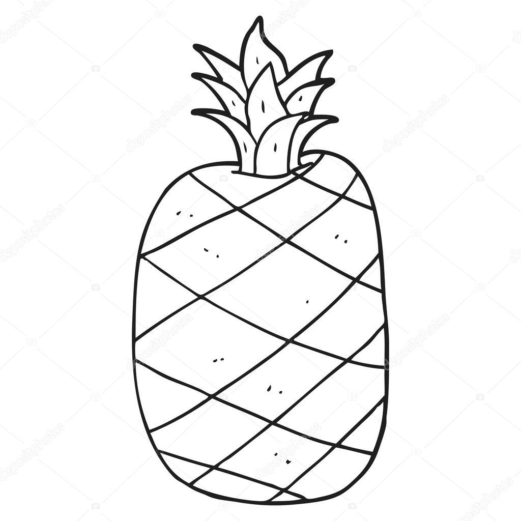 Ananas Rysunek czarno-biały rysunek ananas — grafika wektorowa