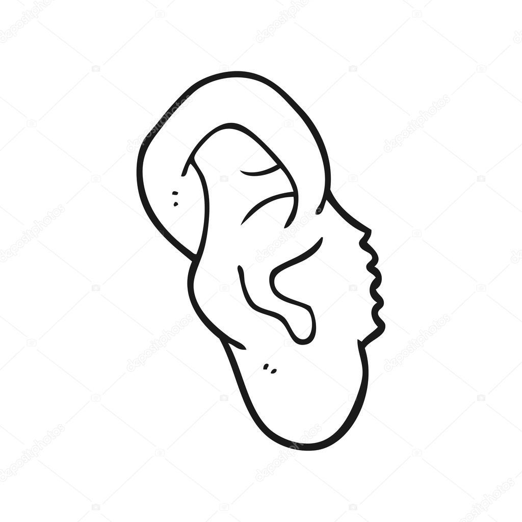 Animado Oido Para Dibujar Oído De Dibujos Animados Blanco Y Negro