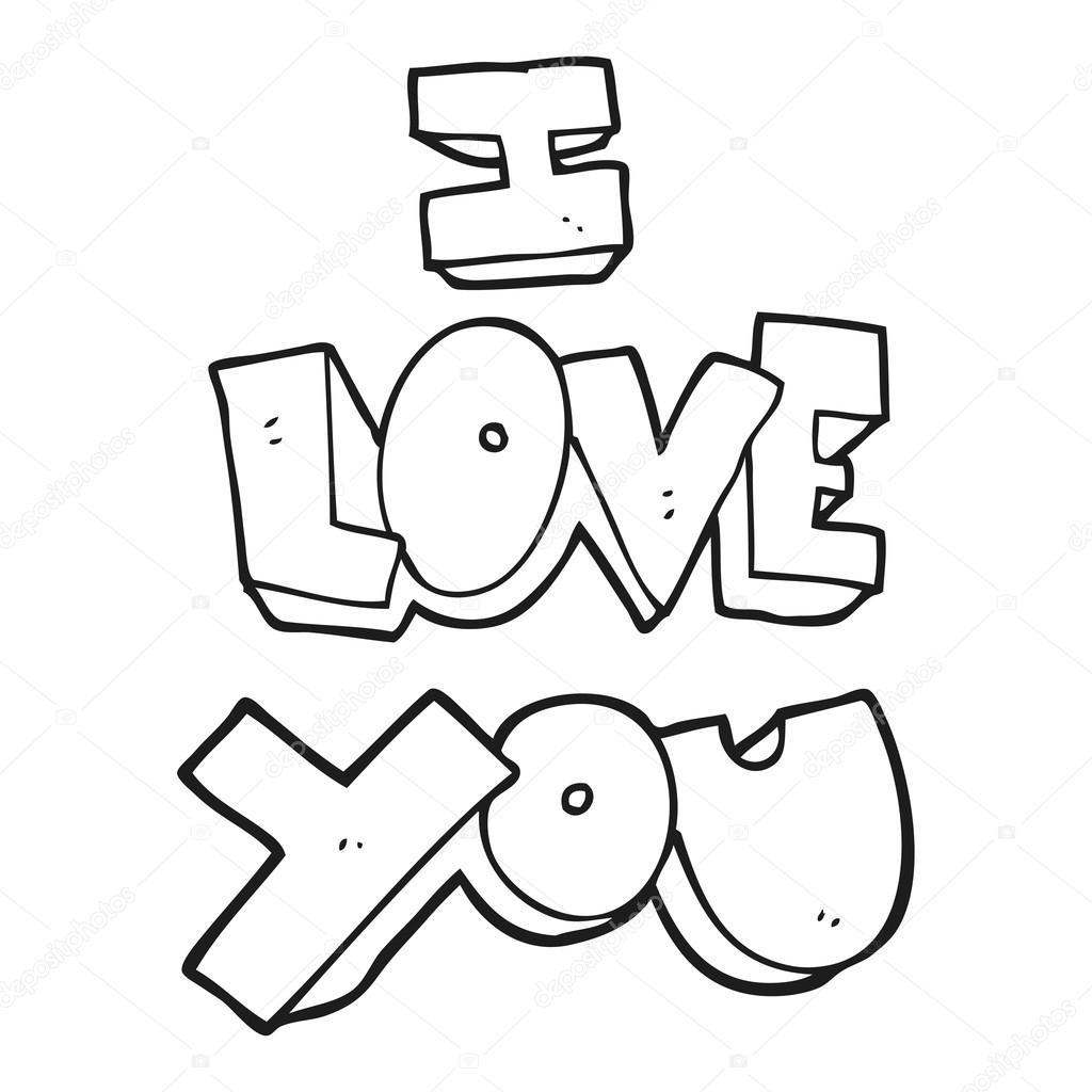 Eu Te Amo Símbolo Preto E Branco Dos Desenhos Animados Vetores De