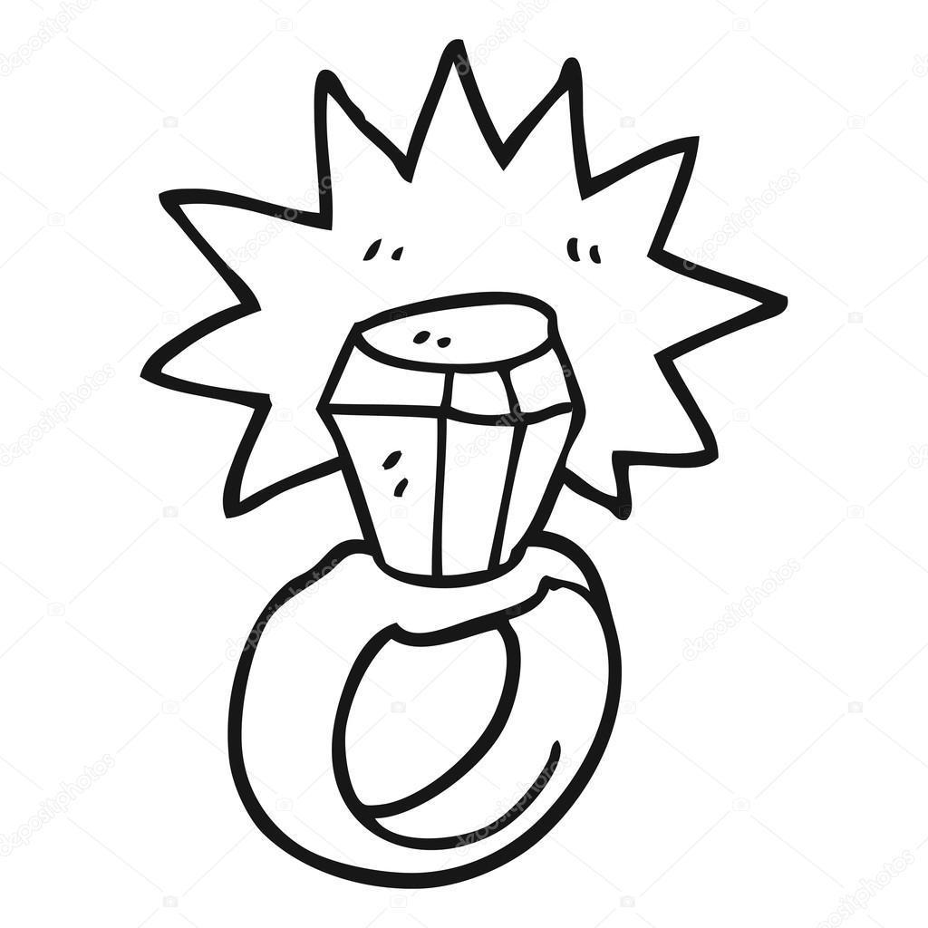 anillo de diamante blanco y negro de dibujos animados — Archivo ...
