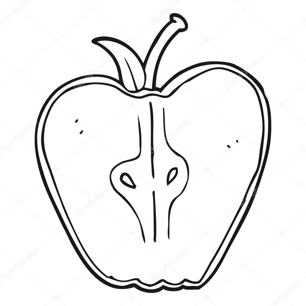 Black And White Cartoon Apple Stock Vector C Lineartestpilot