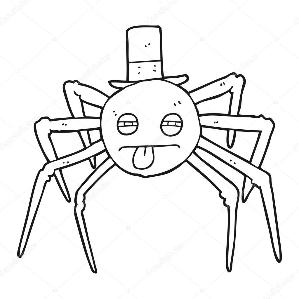 araña de halloween de dibujos animados blanco y negro en el sombrero ...