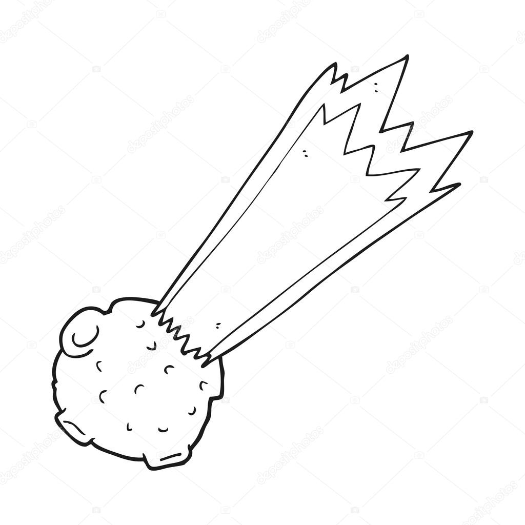 meteorito de dibujos animados blanco y negro — Vector de stock ...