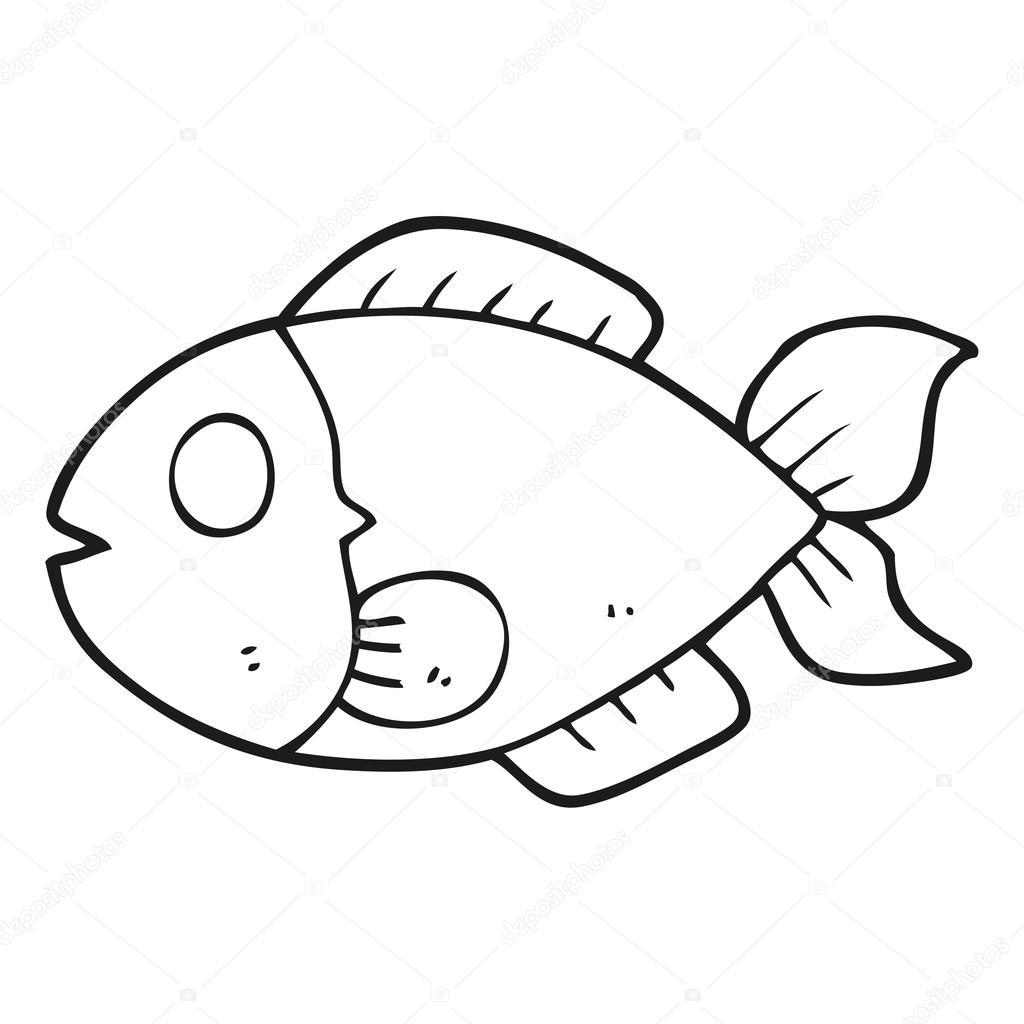 Dibujos Pescados Pescado Blanco Y Negro De Dibujos Animados