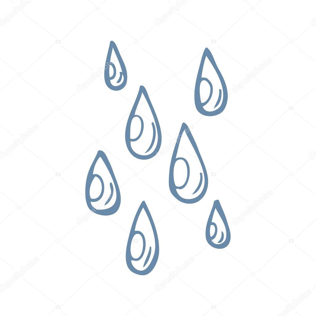 gotas de lluvia de dibujos animados blanco y negro — Archivo ...