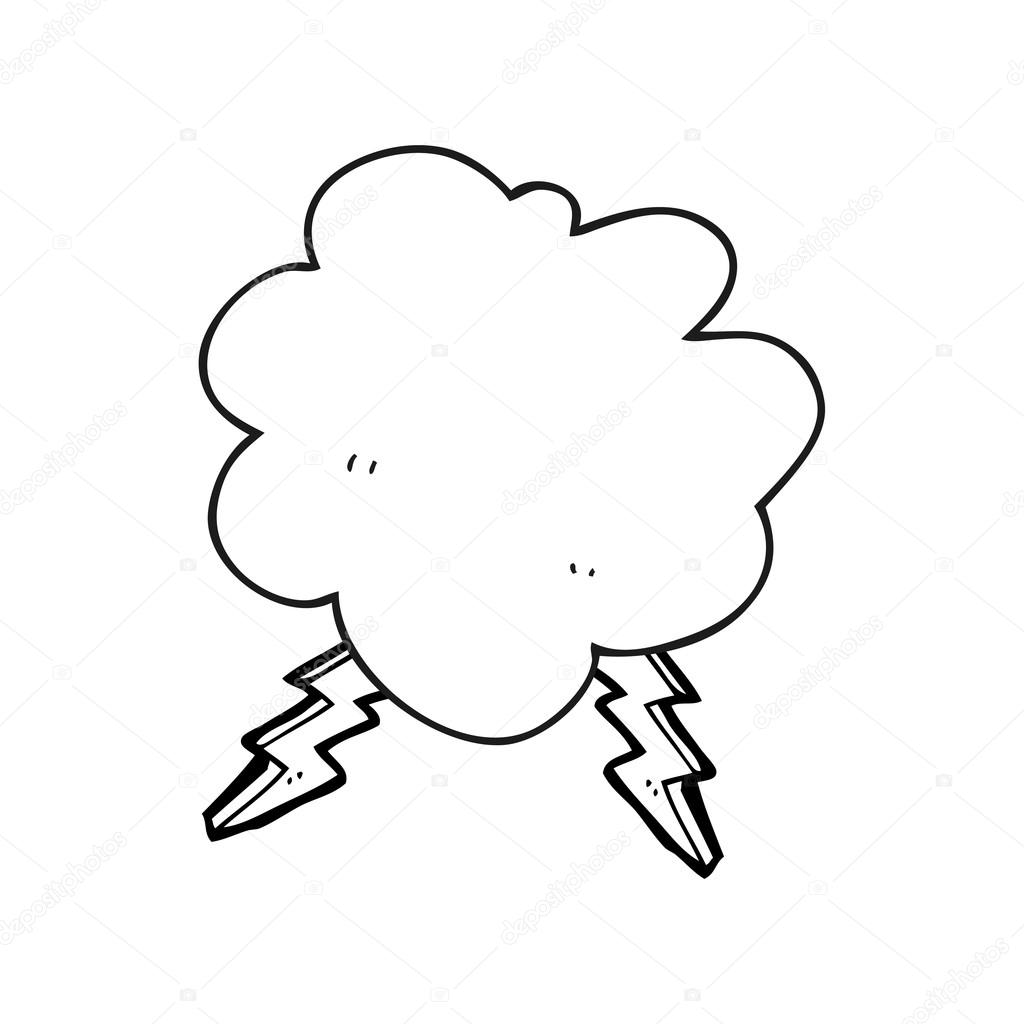 dibujos animados blanco y negra nube de tormenta — Archivo Imágenes ...