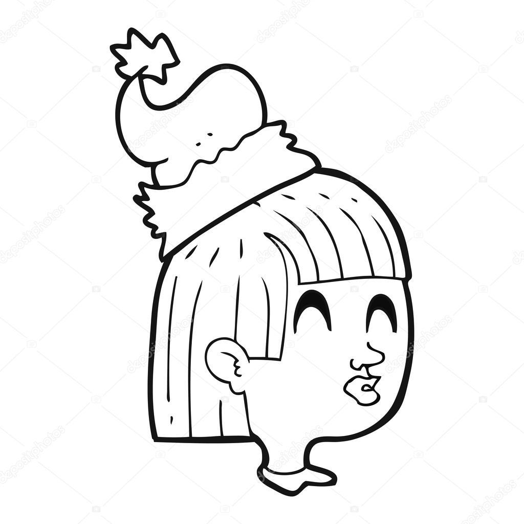 Fille De Dessin Animé Noir Et Blanc Avec Bonnet De Noel