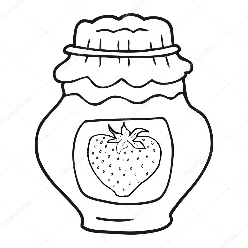black and white cartoon jar of strawberry jam — Stock Vector ... for Strawberry Clipart Black And White  585ifm