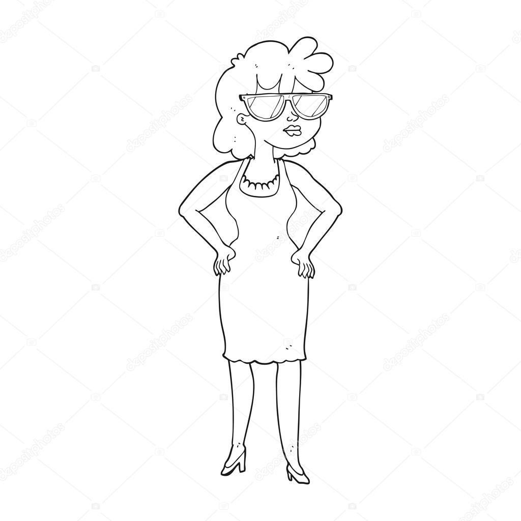 Black And White Cartoon Woman Wearing Sunglasses Stock