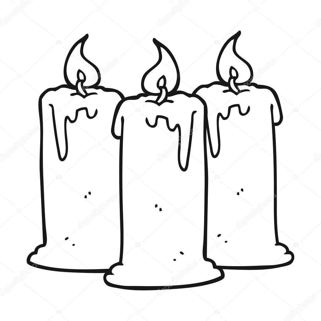 blanco y negro dibujos animados velas encendidas — Archivo Imágenes ...