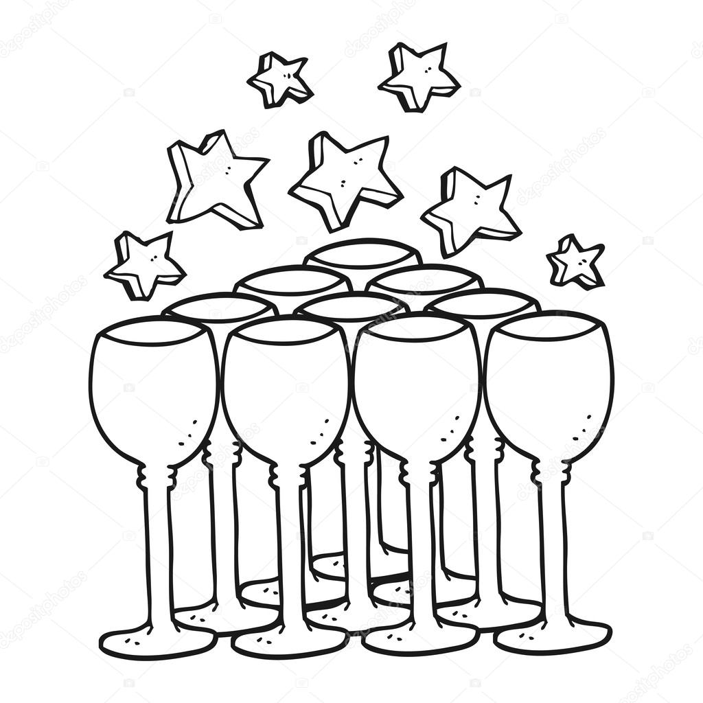 Clipart Wine Glass Clip Art Black White Black And White Cartoon Wine Glasses Stock Vector C Lineartestpilot 101544708