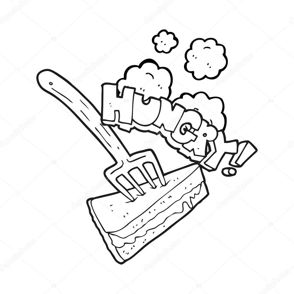 schwarzen und weißen Cartoon Kuchen mit Gabel — Stockvektor ...