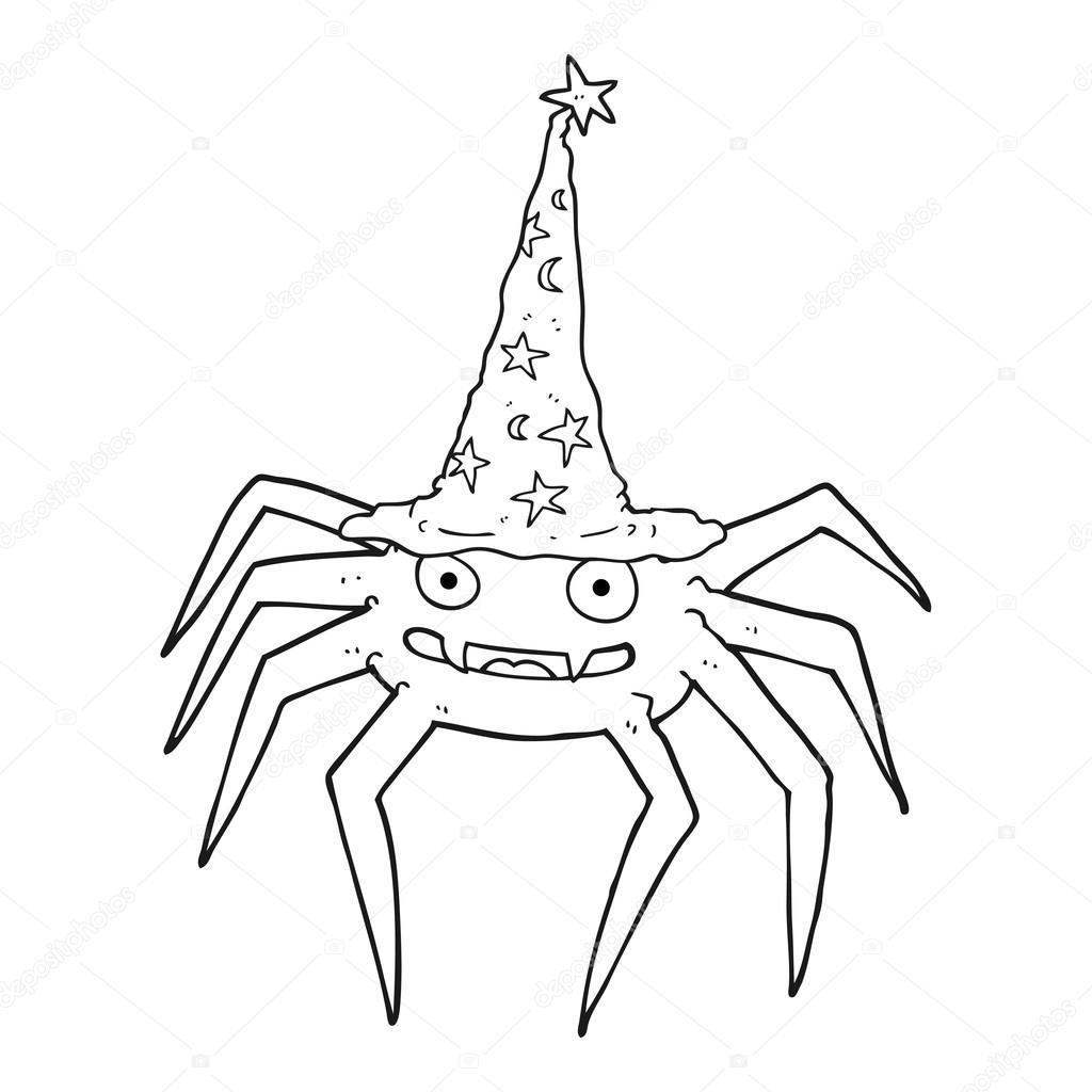 araña de halloween de dibujos animados blanco y negro en sombrero de ...